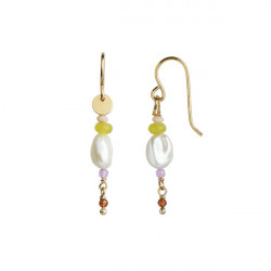 STINE A PETIT BAROQUE PEARL EARRING GOLD WITH CANDY STONE - SOFT LIME