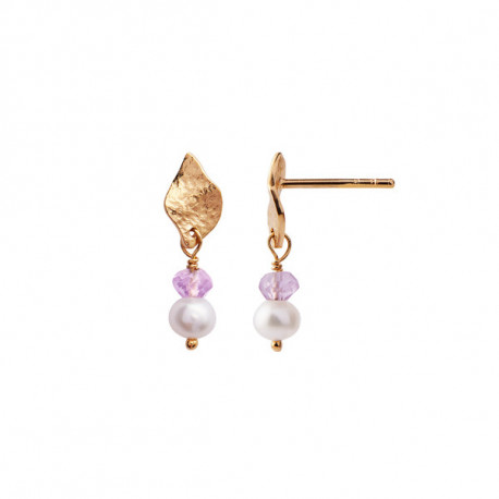 STINE A ILE DE L'AMOUR WITH PEARL AND LIGHT AMERHYST EARRING GOLD