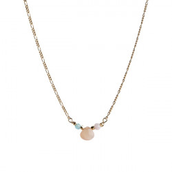 STINE A CANDY DROP NECKLACE WITH PEACH MOONSTONE, PINK OPAL AND BLUE JADE