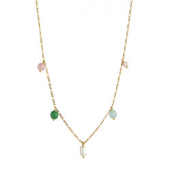 STINE A CANDY FLOSS NECKLACE - GEMSTONES AND PEARL GOLD