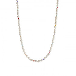 STINE A WHITE PEARLS AND CANDY STONES NECKLACE GOLD