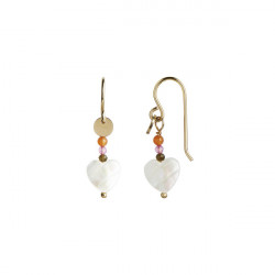 STINE A LOVE HEART EARRING GOLD WITH GEMSTONES - PASTEL CORAL MIX