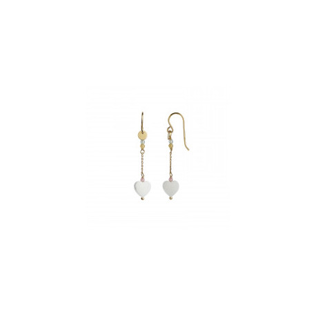STINE A LOVE HEART EARRING GOLD WITH CHAIN AND GEMSTONES - PASTEL MIX