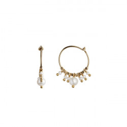STINE A PETIT HOOP WITH WHITE PEARLS EARRING GOLD