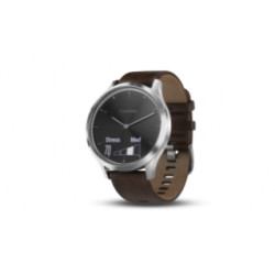 Garmin - Vivomove HR Premium Ur sølv-tone/sort med mørkebrun læderrem