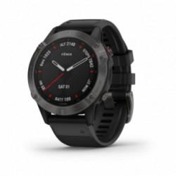 Garmin - Fenix 6 - Pro og Sapphire, carbon-grå DLC med sort rem