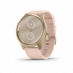 Garmin - Vivomove Style Lys guld-tone aluminiumurkasse med vævet blush pink nylonrem