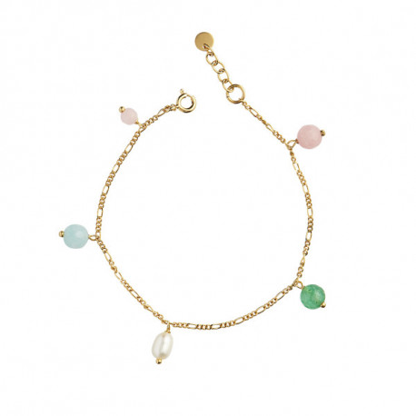 STINE A CANDY FLOSS BRACELET - GEMSTONES AND PEARL GOLD