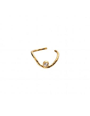 STINE A - WAVY EAR CUFF GOLD WITH STONE